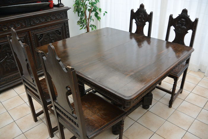 Breton Oak Dining Table With 4 Chairs France Ca 1890 Catawiki