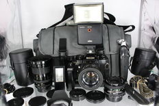 Analogue Collection - Ricoh XR-1S with 3 lenses, two flashes, winder, hand grip and bag