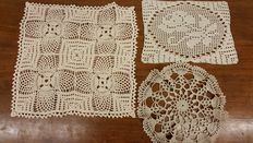 Lot of three crotchet doilies from an Italian private collection, around 1920