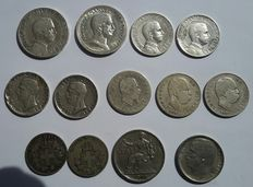 Kingdom of Italy - lot of 13 coins – Vittorio Emanuele II and III and Umberto I (nine silver ones)