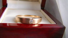 Solitaire ring 1 brilliant approx. 0.09ct K/VVS-IF 375 gold