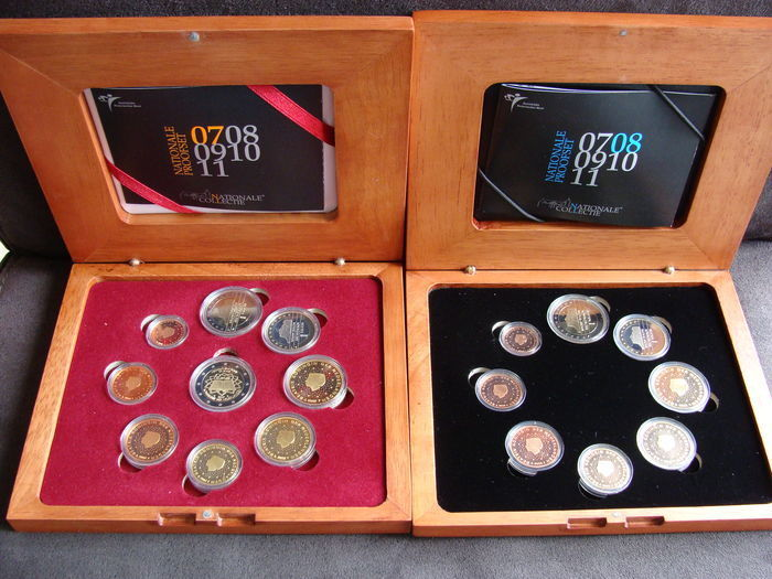 "The Netherlands – Year collections (Proof) 2007 (including extra 2 Euro coin ""Treaty of Rome"") and 2008"