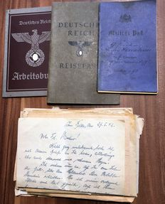 1st + 2nd WW lot of documents and papers from 1893 until the 3.Reich, military passport, etc.