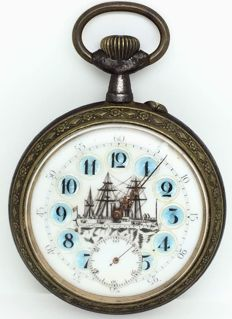 Pocket watch with sailing boat