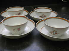 East India Company - 4 bowls and 5 saucers