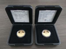 Netherlands – Ducat (2 pieces) 1999 and 2000 Beatrix in the original packaging – gold