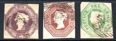 Great Britain Queen Victoria 1847/54 - 6d Mauve 10d Brown and 1 Shilling Deep Green Embossed Set, Stanley Gibbons 54, 57 and 58