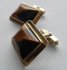 Fine antique 585 gold cufflinks 14 kt, with tiger's eye-cabochon, approx. 22.3 g