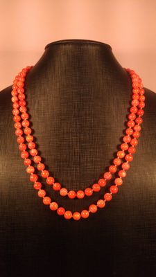 Long Antique Angel skin Natural Coral Round Beads Necklace, 104gr