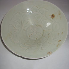 Chinese celadon glazed ,light green coloured porcelain bowl with flower motifs - 190 mm