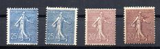 "France 1906 - Type ""Semeuse lignée"" - Varied of colours - Yvert no. 131 - 131a - 132 - 132a"