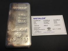 Switzerland - Metalor 1 kg - 1000 grams 999 silver bullion - with certificate - cast / unique