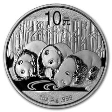 China - Yuan 10 - 1 oz ounce 999 silver coin silver China Panda 2013 - in capsule