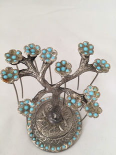 Antique Asia Silver and turquoise hairpin set