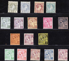 Monaco 1885 to 1921 – Prince Charles III – Collection of 17 stamps between Yvert no. 1 and 45.