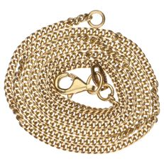 Yellow gold curb link necklace, 14 kt – 44 cm