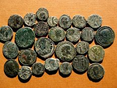 Roman Empire - 27 bronze coins, III-IV centuries A.D. Claudius II (4), Diocletian, Constantine I (5) and II, Constans (2), Constantius II (10), Julian II, Gratian and Theodosius (2). (27)