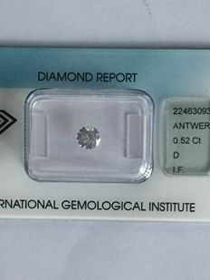 Brilliant cut diamond of 0.52 ct, D, IF.