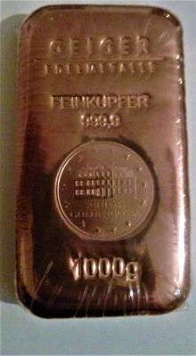 Geiger copper bar 1 kg - 1000 grams 999 copper - cast Güldengossa Castle Edition - with serial number