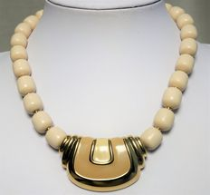 Signed NAPIER - Ivory Lucite Beaded, Gold Plated Gilded, Beige & Cream Enamel, Choker Necklace. 1960/70s