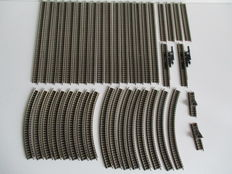 Fleischmann N - 9100/9101/9114/9116/9120/9125 - 40-piece set of rails rails, decoupler and buffer blocks