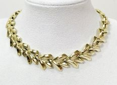 Signed CORO - Link gold tone plate Necklace 1960s