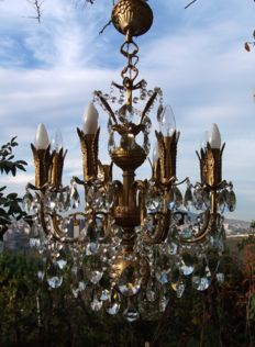 Large Brass and crystal Chandelier, 21st century