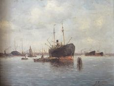 J. Rijnders (20th century) - Harbour view Amsterdam