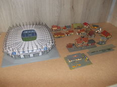 Pola/Faller/Heljan N - football stadium, train station and other buildings