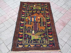 HAND KNOTTED HERATHI PICTORIAL RUG RUG 84 X 130 CM