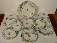 Limoges A. Lanternier - Beautifully decorated Art Deco cake set