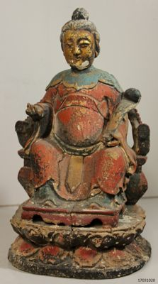 Wooden statue, emperor on a throne – China – mid 20th century
