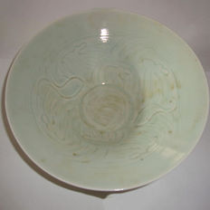 Chinese light green colour celadon porcelain bowl with floral and fish motifs - 185 mm