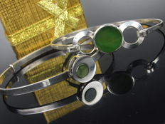 Modernist silver jadeite bracelet / bangle from Germany, 1970s