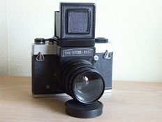 Kiev 6C medium format camera + Vega 80mm. 2.8, TTL viewfinder and viewfinder + extension rings 0.35 m and 0.4 m