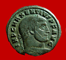 Roman Empire - Maxentius (306-312) bronze follis ( 6,89 g. 25 mm.), from Ostia mint, A.D. 309-312. FIDES MILITVM AVGN / MOSTT. Scarce.
