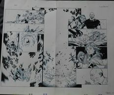 Coipel, Olivier (bluelines) / Morales, Mark (inks) - Double splash page - Avengers vs X-Men - (2012)