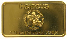 Fine gold bar, HERAEUS Edelmetalle GMBH HANAU, 1 oz, / 31.1 grams 999.9, sealed