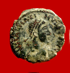 Roman Empire - Magnus Maximus (383-388 A.D.), AE 4 ( 0,94 g, 13 mm ). Arles mint. 387-388 A.D. SPES ROMANORVM. Camp gate.