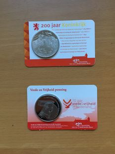 "The Netherlands – Medals 2012 ""Bicentennial of the Kingdom"" and 2015 ""Peace and Freedom"" in coin cards"