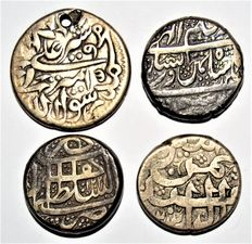 Afghanistan, Durrani Empire, AH1285-1296 / AD1868-1879) - Silver Rupee lot of 4 Coin . Kabul & Herat mint Dated 18th Century