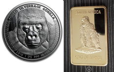 Scottsdale Mint - 5000 francs - 1 oz 999 Silver Coin Republic of Congo Silver-Back Gorilla 2016 - Silver-Back + 1 oz Medal Bar Gorilla