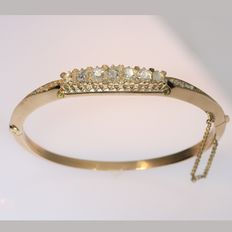 Antique Victorian diamond gold bangle bracelet - anno 1890