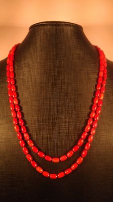 Long Antique Natural Coral barrel shape Beads Necklace, 61gr
