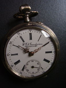Silver men's pocket watch. Brand W.F.A.  Groenhuizen, Amersfoort. Early 1900s