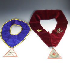 Two vintage ceremonial Masonic sashes with jewel medal
