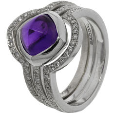 "Saddal - White gold women's ring ""Dolce"" with amethyst and diamond"