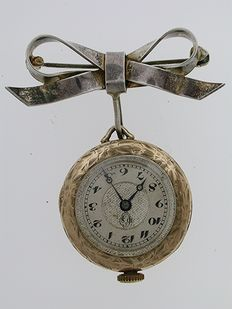 Open Face FOB Pocket Watch  with Silver Bow Swiss 1950