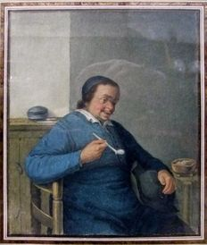 Benjamin Wolff (1758 - 1825) - Ecclesiastical portrait with Pipe - Amsterdam