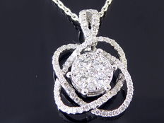White gold pendant set with 89 brilliant cut diamonds of 0.70 ct in total